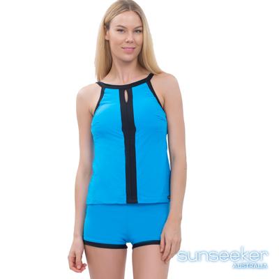 澳洲Sunseeker泳裝削肩運動款兩件式泳衣-藍