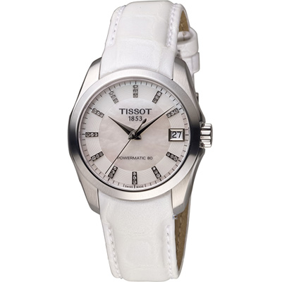 TISSOT Couturier 建構師  Lady 80小時動力機械錶-白/32mm