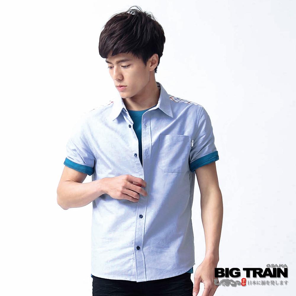 BIG TRAIN-肩裝飾格紋剪接短袖襯衫-白藍