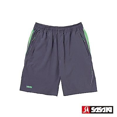 SASAKI 抗紫外線反光功能四面彈力網球短褲-男-中灰/艷綠