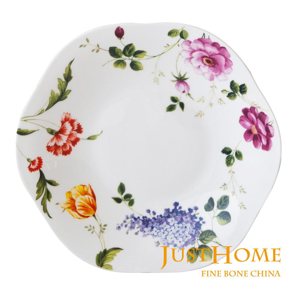 Just Home 玫瑰園高級骨瓷6吋點心盤(4入組)