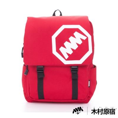 木村原宿MM-大LOGO雙排袋扣學院筆電後背包-中紅