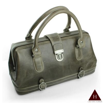 H-CT 時尚墨綠色設計款真皮手提包(UM1343-Z)