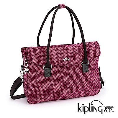 Kipling 手提包 紅色編織菱紋-中
