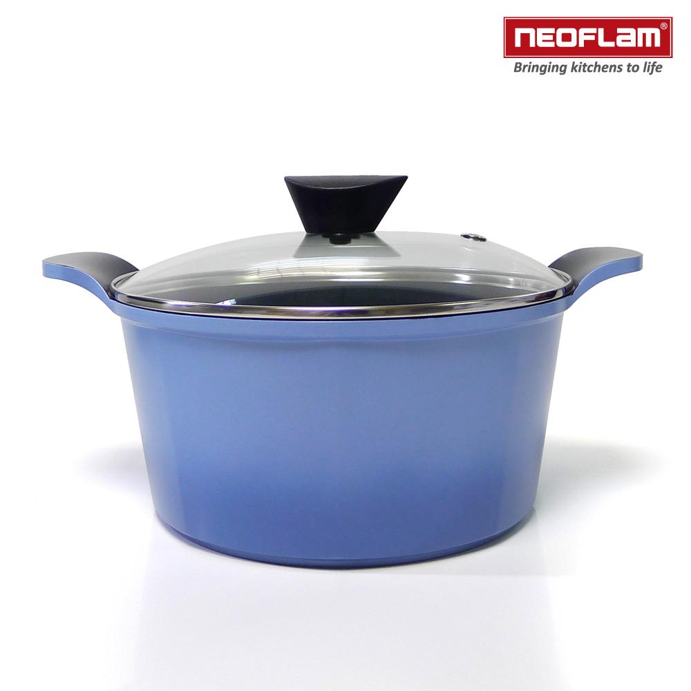 韓國NEOFLAM Venn系列 24cm陶瓷不沾湯鍋+玻璃鍋蓋