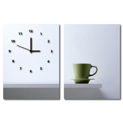 美學365-兩聯客製化掛飾壁鐘時鐘畫框無框畫藝術掛畫-客製餐廳-30x40cm