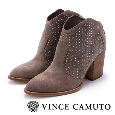 Vince Camuto 鉚釘尖頭復古粗跟踝靴-絨灰