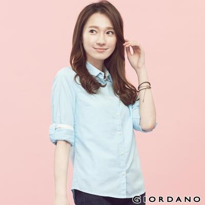 GIORDANO-女裝質感素面牛津紡襯衫-53菘藍