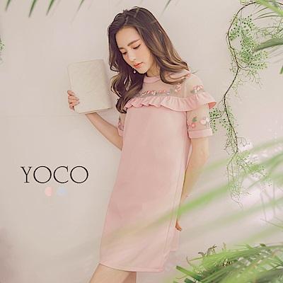 東京著衣-yoco輕透美肌透膚薄紗小花刺繡短袖洋裝-S.M.L(共二色)