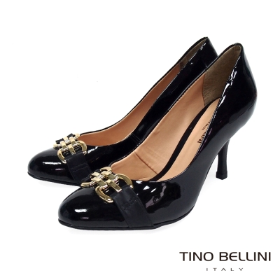 Tino-Bellini-巴西典雅金屬鎖鍊高跟包鞋-黑