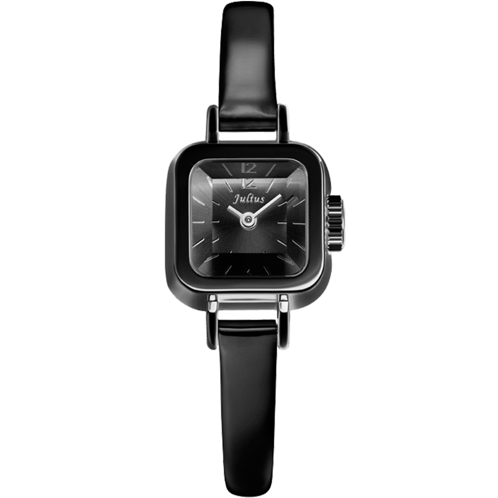 JULIUS聚利時 Choco小方糖立體切割鏡面皮帶腕錶-黑x黑/24x24mm