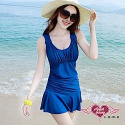 泳衣 海洋假期 一件式加大尺碼連身泳裝(藍M~2L) AngelHoney天使霓裳