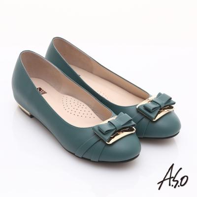 A.S.O 輕透美型 真皮金屬結飾內增高平底鞋 藍