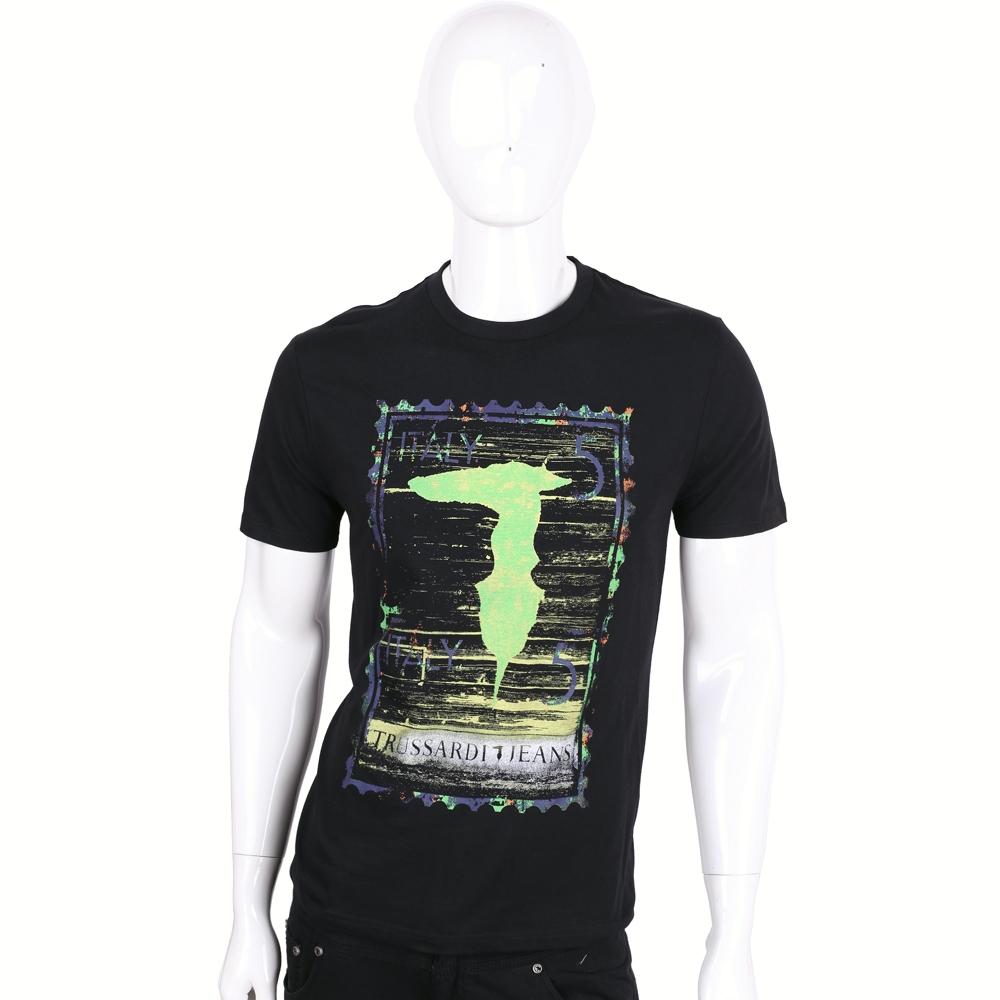 TRUSSARDI-JEANS 黑色仿舊刷色郵票LOGO棉質短袖T恤