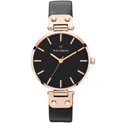 MOCKBERG SIGRID 質感簡約真皮手錶-黑X玫瑰金框/34mm
