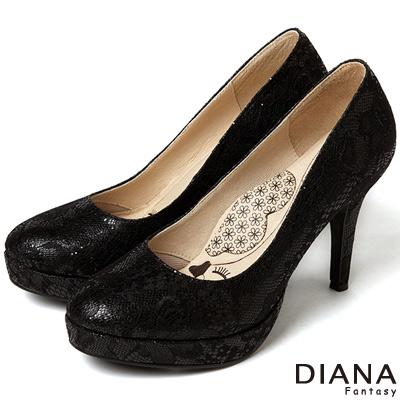 DIANA 漫步雲端LADY款--法式蕾絲晚宴跟鞋-黑