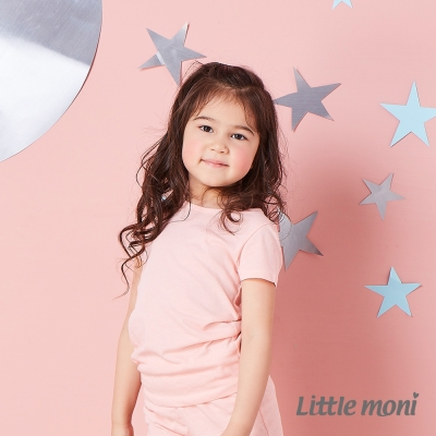 Little moni 涼感系列素面 短袖上衣  粉橙