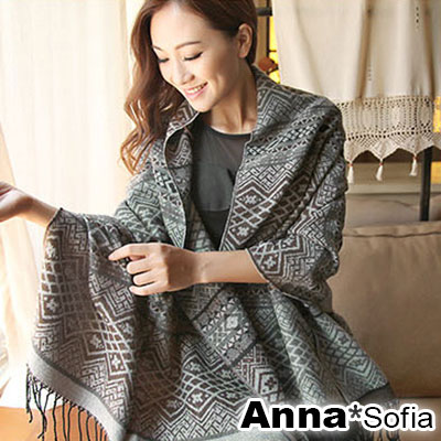 AnnaSofia-古典小菱格-流蘇仿羊絨披肩圍巾-黑灰咖
