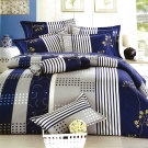 理性世代-藍台灣製雙人五件式純棉床罩組
