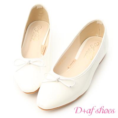 D+AF 氣質典雅.漆皮低跟芭蕾娃娃鞋*白
