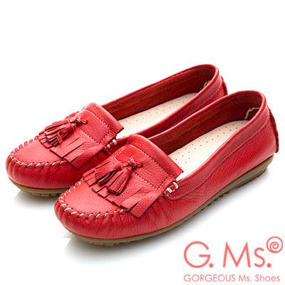 G.Ms. MIT系列-極好穿軟Q牛皮流蘇莫卡辛鞋-紅色