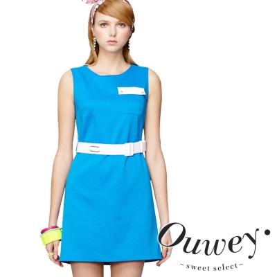OUWEY歐薇 棉質亮彩大口袋造型背心洋裝