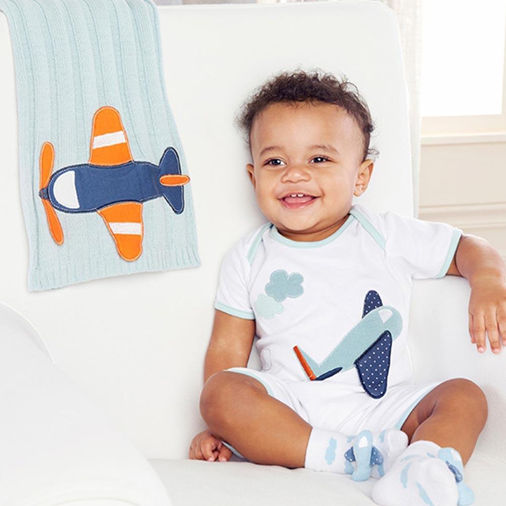 Baby Aspen 水藍小飛機編織蓋毯彌月禮組