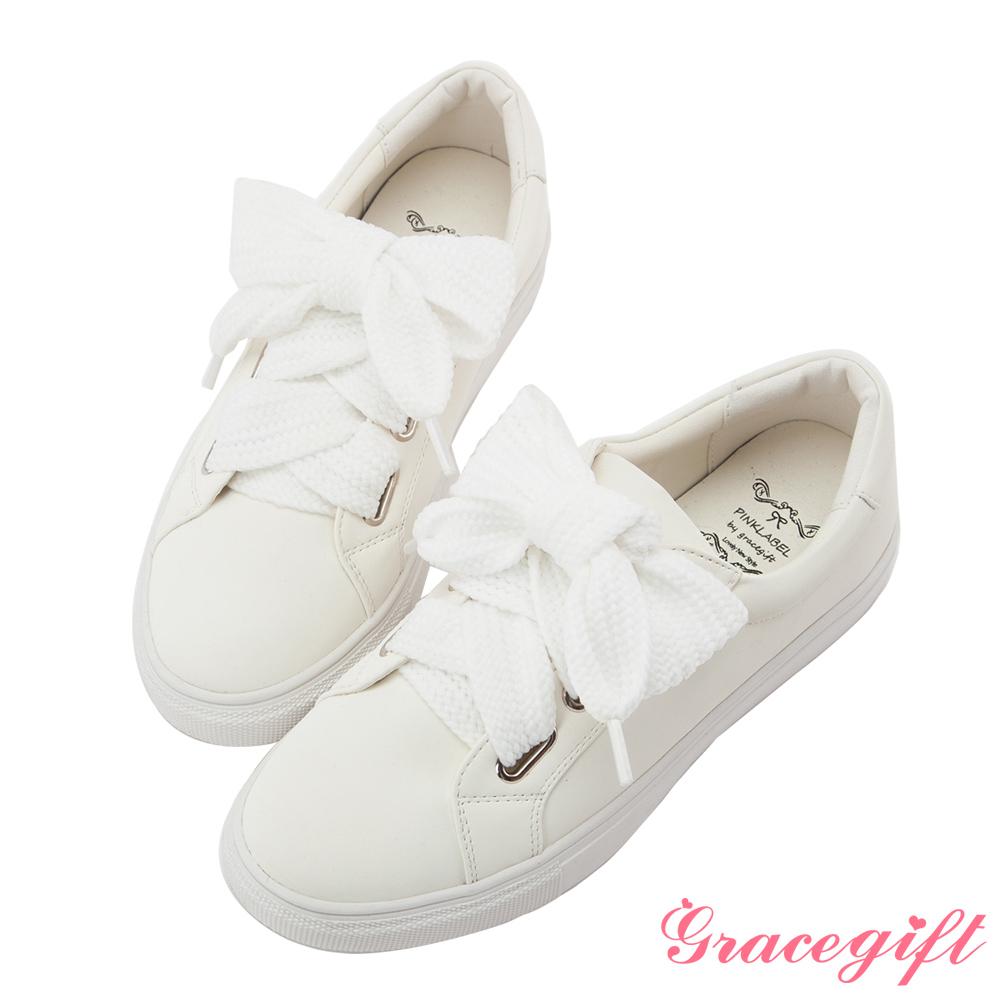 Grace gift-寬版織帶霧感磨面休閒鞋 白