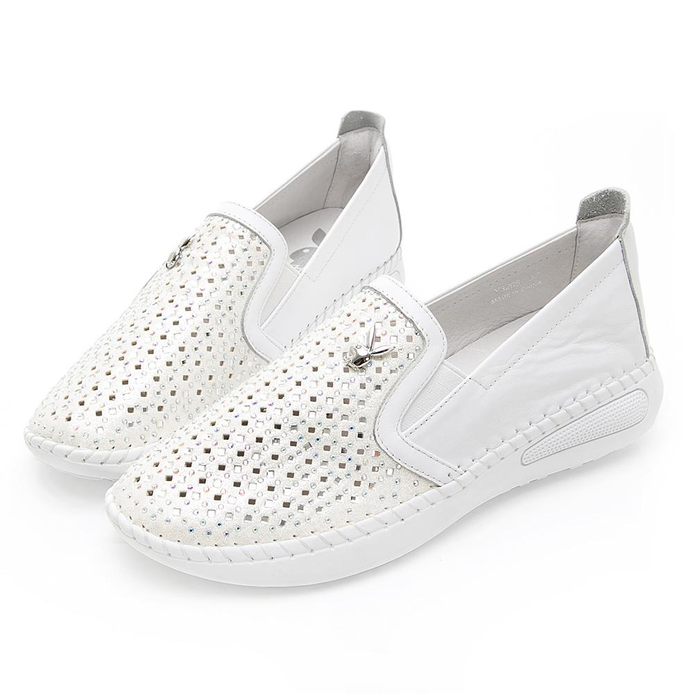 PLAYBOY絢爛銀河 菱形彩鑽真皮樂福鞋-白