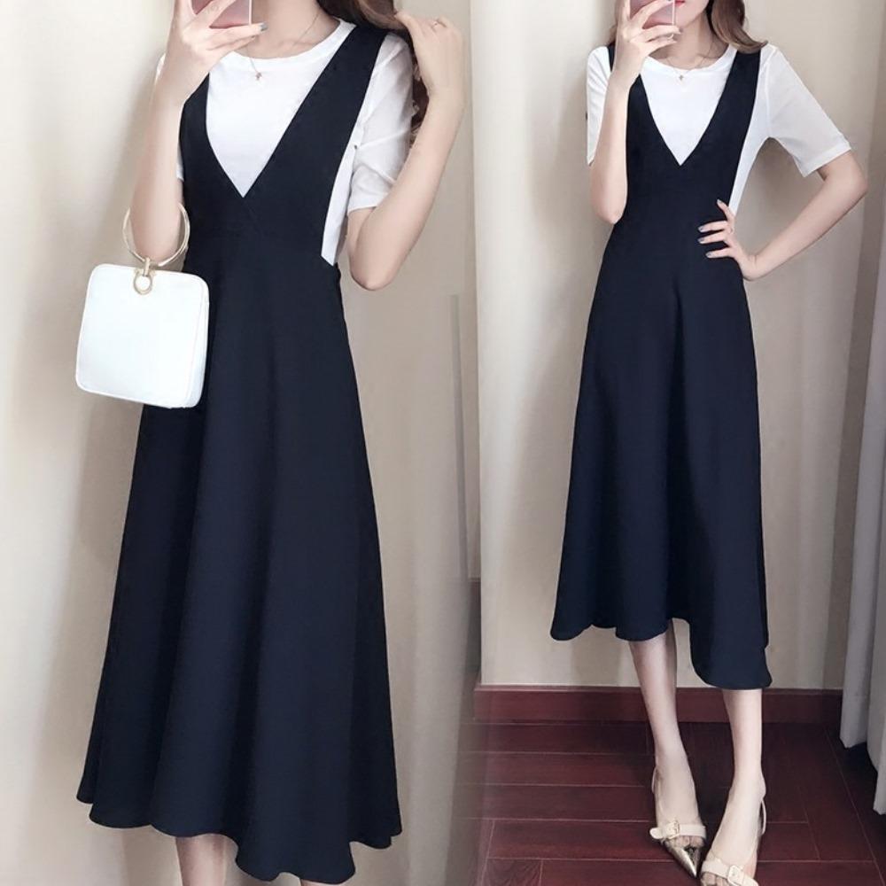 中大尺碼白色上衣加黑色大V領收腰背心洋裝XL~4L-Ballet Dolly