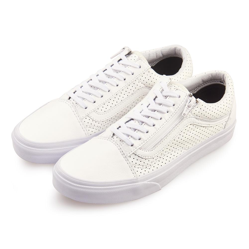 (男)VANS Old Skool Zip 經典皮革拉鍊休閒鞋*白色