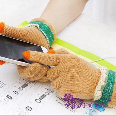 Decoy 花邊蕾絲 觸控針織手套 膚色