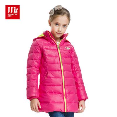 JJLKIDS 百搭素色長版羽絨外套(玫紅)