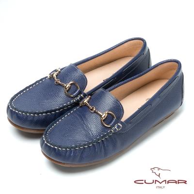 CUMAR台灣製造 嚴選真皮舒適平底樂福鞋-藍色