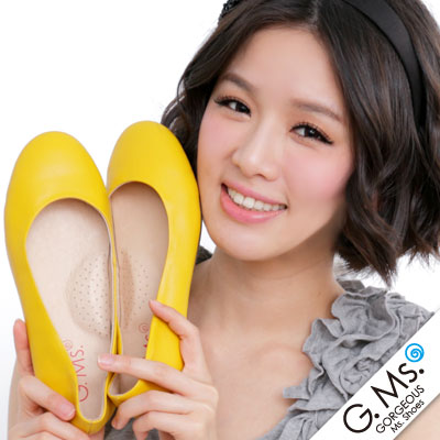 【G.Ms.】旅行女孩II‧素面全真皮可攜式軟Q娃娃鞋(附專屬鞋袋) ‧ 芥苿黃