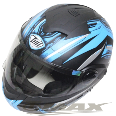 THH新一代駭客全罩半罩可掀式雙鏡片安全帽 T797A+-黑藍M