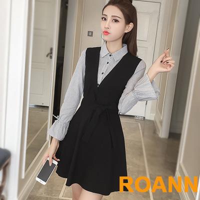 假兩件拼接條紋綁帶長袖洋裝 (黑色)-ROANN