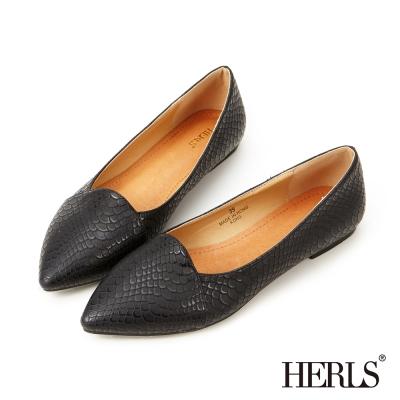 HERLS-內真皮蛇紋尖頭樂福鞋-黑色