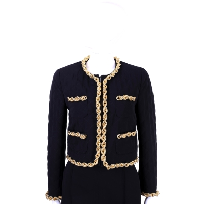 MOSCHINO 黑色菱格車縫金鍊滾邊設計外套