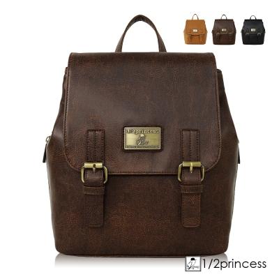 1/2princess二代復古皮革懷舊品味仿舊雙扣後背包 - 咖啡[A2741]