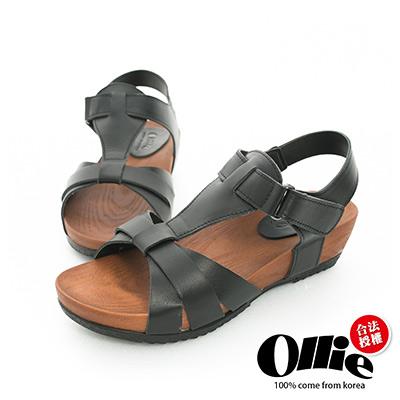 Ollie韓國空運-正韓製真皮剪裁T型厚底涼鞋-黑