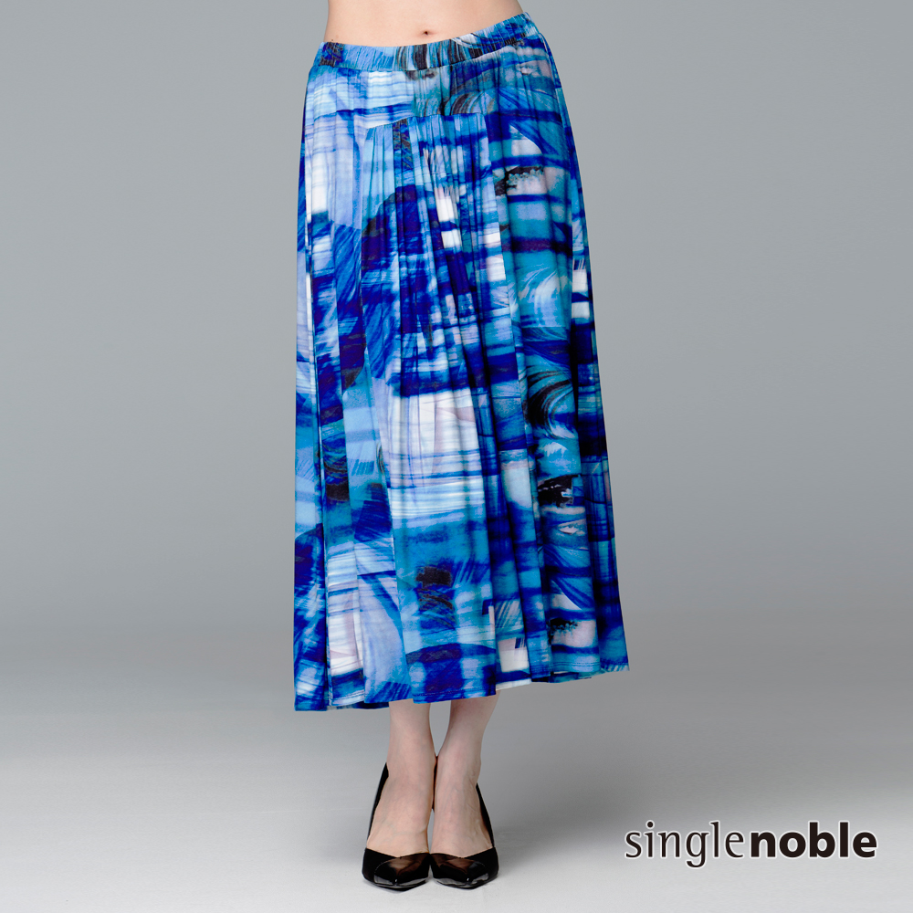獨身貴族抽象圖騰百褶長裙2色