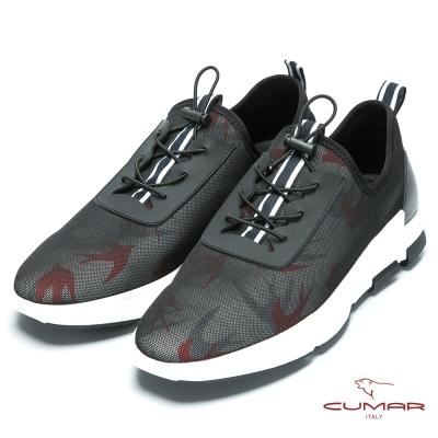 CUMAR 時尚潮流 進口透氣網布休閒運動鞋-紅