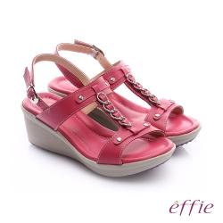 effie 輕量樂活 真皮工字鍊帶高跟楔型涼鞋 桃粉紅