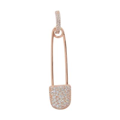 apm MONACO法國精品珠寶 閃耀玫瑰金色鑲鋯別針單邊耳針式耳環