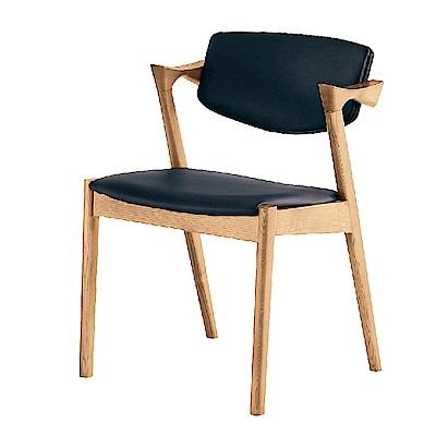 AS-比爾原木黑皮墊餐椅-64x55x75cm
