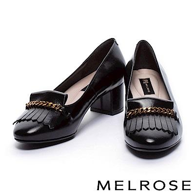 高跟鞋 MELROSE 高貴典雅金屬鍊流蘇設計牛皮尖頭高跟鞋-黑