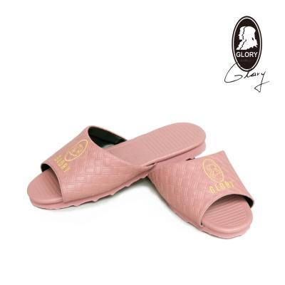 GLORY舒適耐用 粉色-格紋室內皮拖