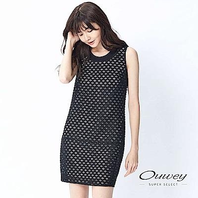 OUWEY歐薇 六角碎花兩件式洋裝(黑)