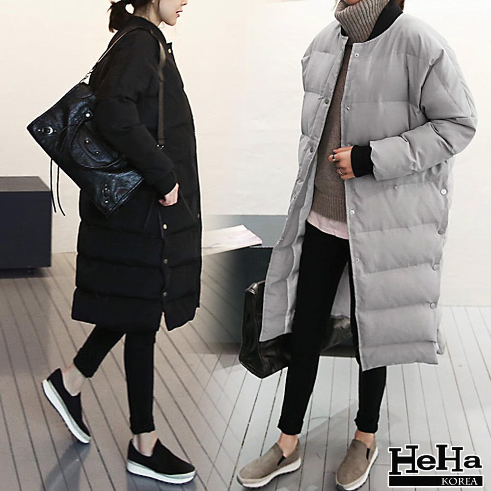 外套 寬鬆鋪棉加厚長版風衣外套 二色-HeHa